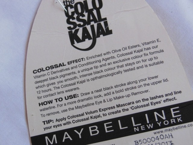 Maybelline Colossal Kajal Black 12Hr formula Claims