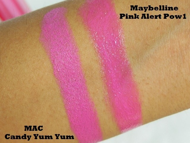 MAC Candy Yum yum and Maybelline Pink Alert Pow1 Lipstick Swatch 1