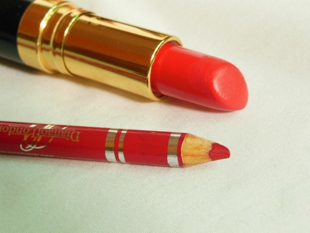 Makeup Muddle - Shades Of Red Lipstick - Pink Based Red - Revlon Fire & Ice Lipstick and Diana Of London Cardinal red Lip Liner