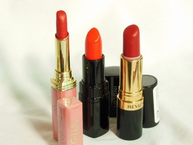 Makeup Muddle - Shades Of red Lipstick - Orange Based Red - Lotus Red rover, INGLOT #103 and Revlon Superlustrous Matte Really Red