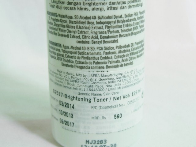 Jafra Brightening facial Toner Ingredients