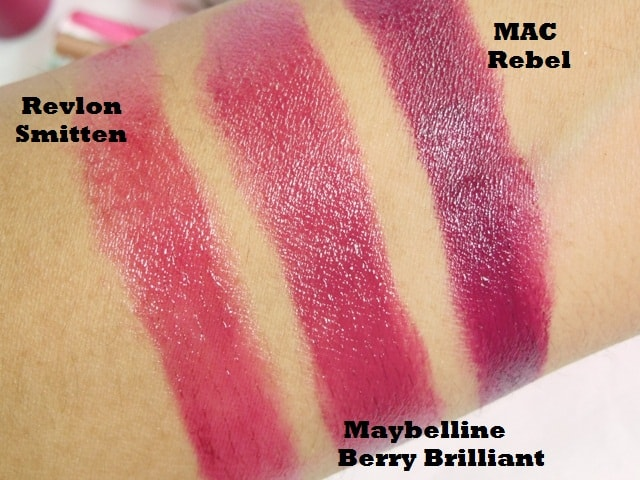 Dupe Discovered - MAC Satin Rebel, Maybelline Berry Brilliant and Revlon Smitten Lipstick Swatch