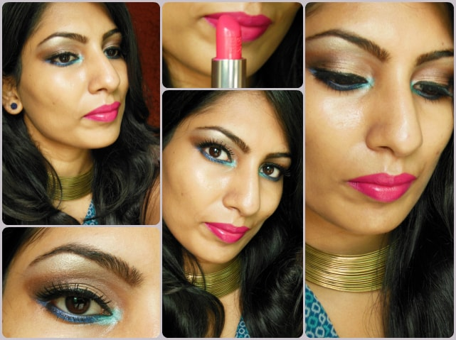 Makeup of the day - Blue and neutral eyes and bright pink lips