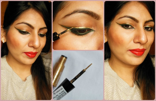 Maybelline HyperGlossy Electric Liquid Eye Liner Gold-iation Look