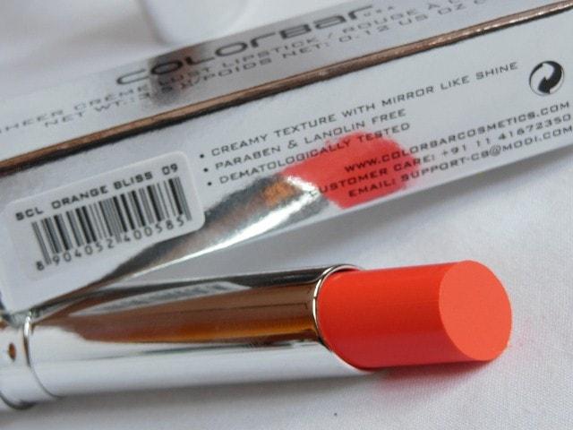 Colorbar Sheer Creme Lust Lipstick Orange Bliss Claims
