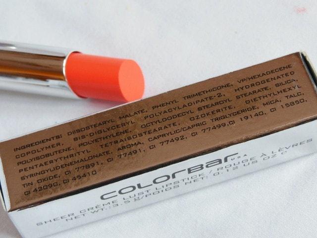 Colorbar Sheer Creme Lust Lipstick Orange Bliss Ingredients