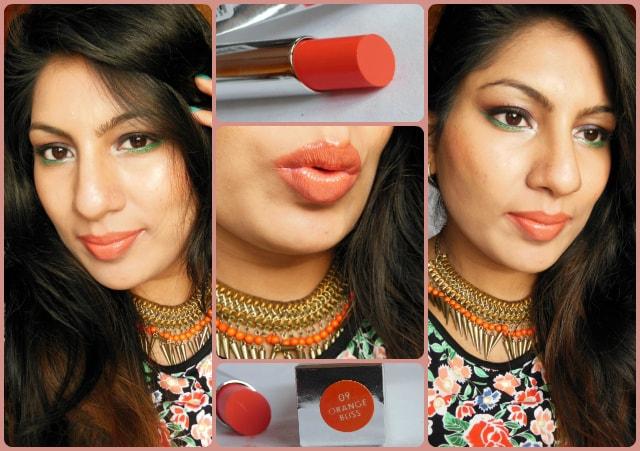 Colorbar Sheer Creme Lust Lipstick Orange Bliss Look