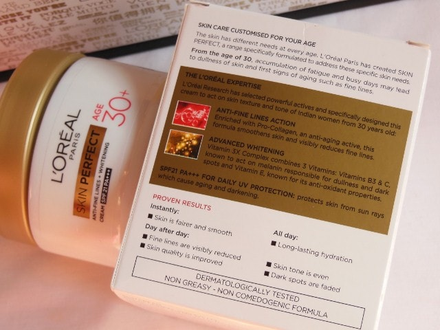 L'Oreal Paris Skin Perfect Anti Fine Lines Wrinkle and whitening cream Claims