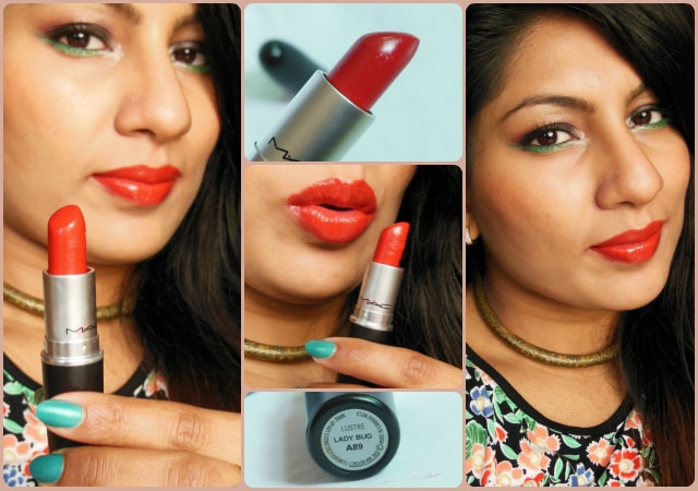 MAC Lustre Lady Bug Lipstick Look