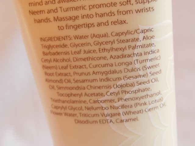 Natio Meditate Hand Cream Pink Lotus Ingredients