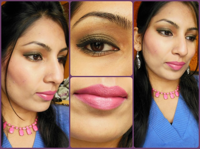 Valentine Day Makeup Look - Green eyes and Pink Lips