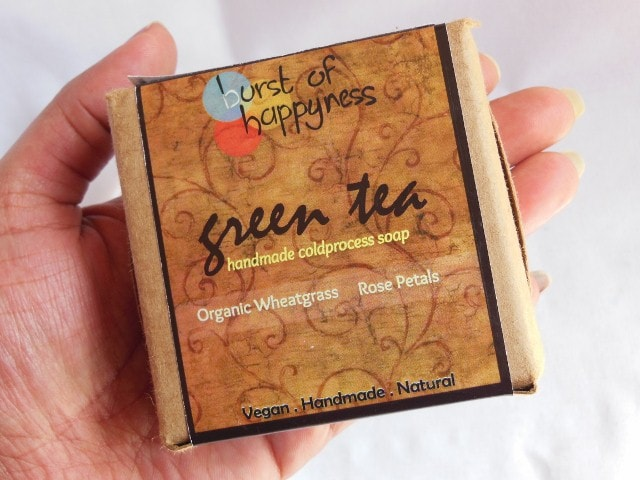 Burst of Happyness Green Tea Soap with Organic Wheatgrass and Rose Petals