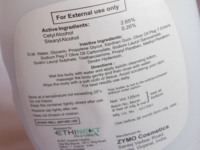 Ethicare Epiclin Cleansing Lotion Ingredients