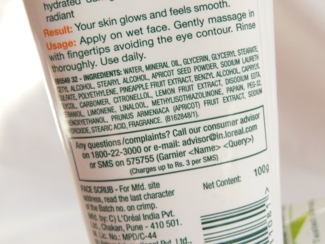 Garnier Pure Active Exfoliating Face Scrub Ingredients