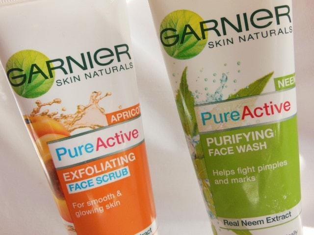 Garnier Pure Active Face Wash and Face Scrub
