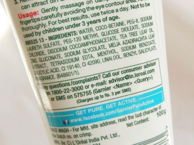 Garnier Pure Active Purifying Face Wash Ingredients