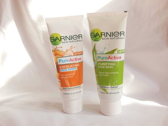Garnier Pure Active Purifying Face Wash and Exfoliating Face Scrub Packaging