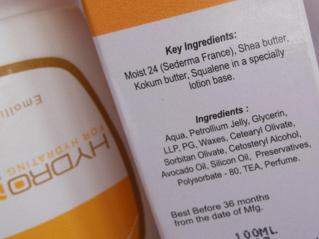 Hydromax Emolient Lotion Ingredients