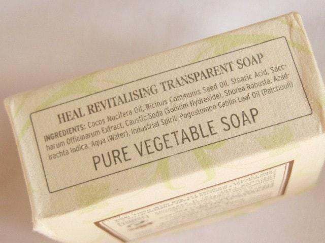 Kama Ayurveda Heal Revitalizing Transparent Soap Ingredients