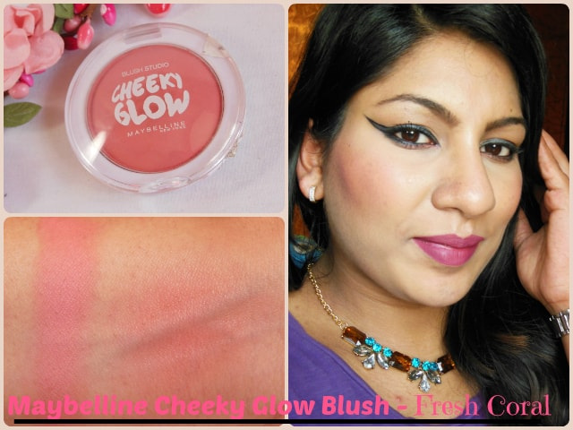 Maybelline Cheeky Glow Blush Fresh Coral Look