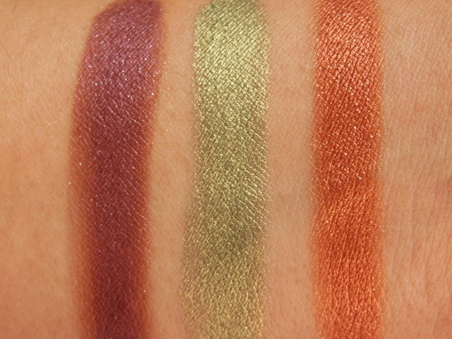 Sneak Peek- Makeup Geek Foiled Eye Shadow- Flame Thrower, Jester, Showtime Swatch