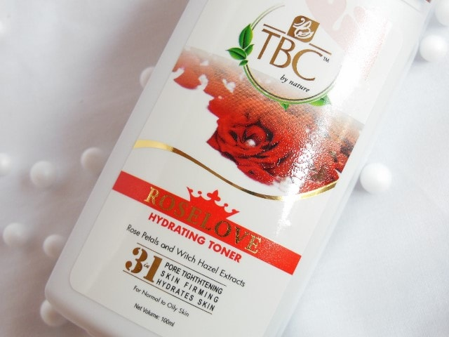 TBC by Nature Roselove Hydrating Toner Claims