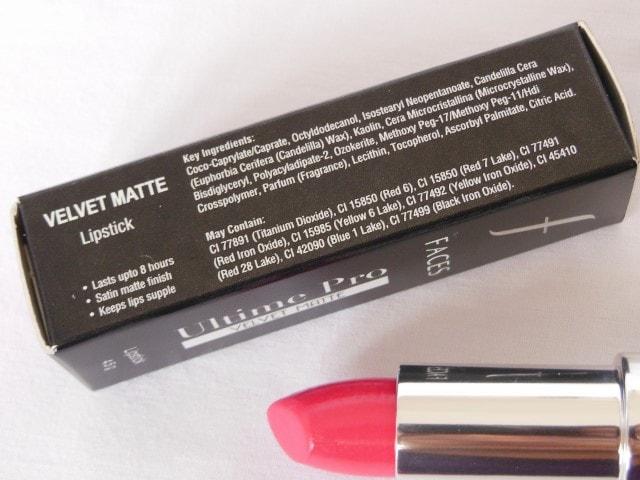 Faces Ultime Pro Velvet Matte Lipstick Ingredients