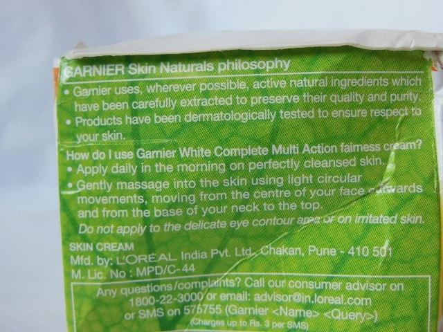Garnier White Complete Fairness Cream Usage