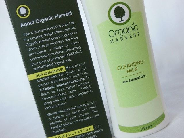 Organic Harvest Cleansing Milk Claims
