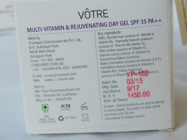 Votre Multi Vitamin and Rejunevating Day Gel SPF 35 Claims