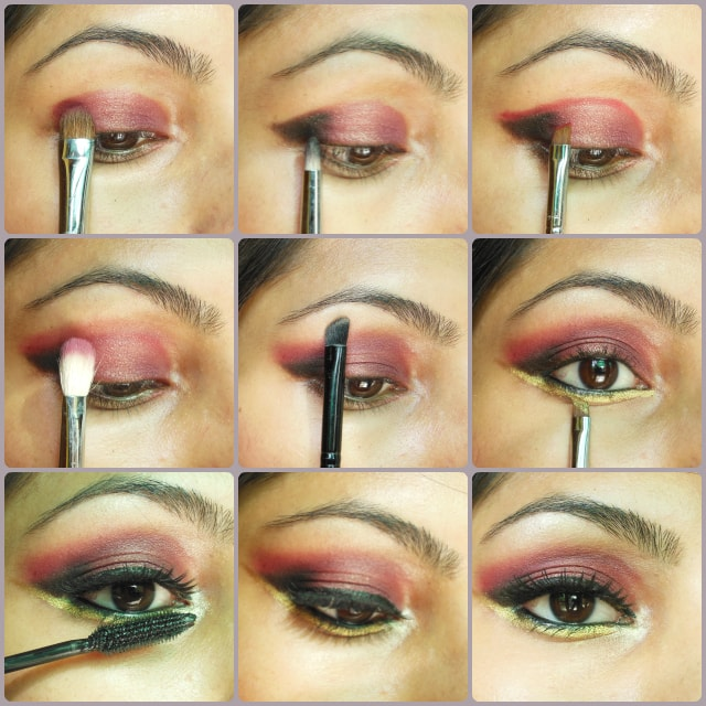 Eye Makeup Tutorial - Plum, Gold and Black Eye Makeup