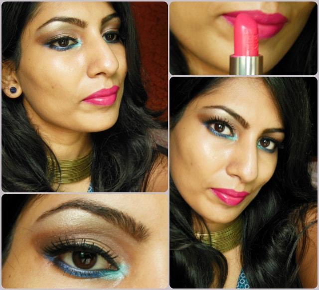 Makeup Look with Pop of Blue Eye Makeup