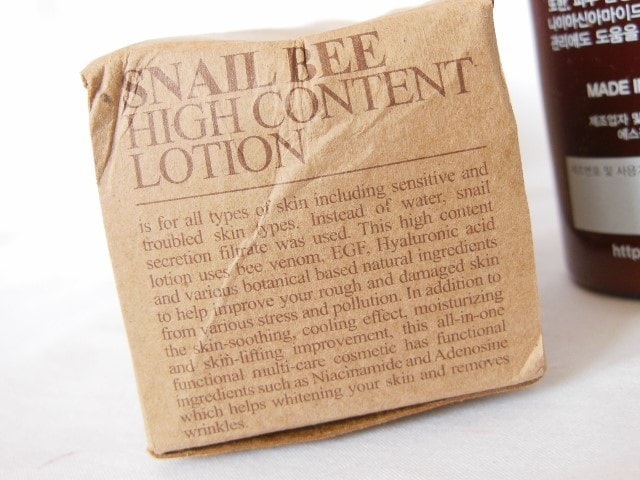 Benton Snail Bee High Content Lotion Claims