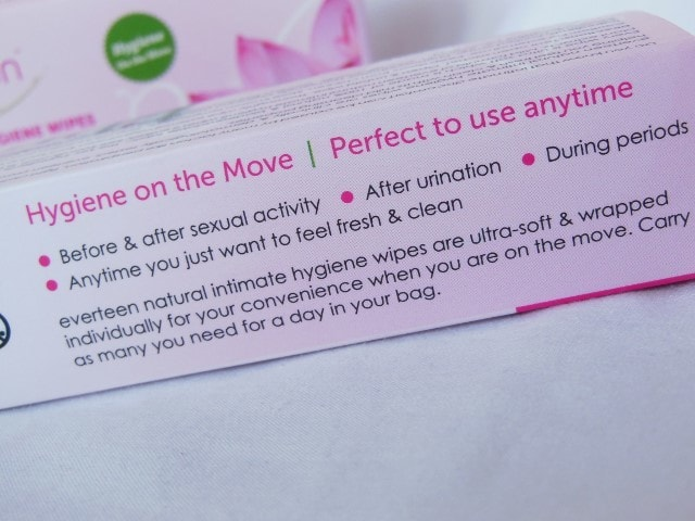 Everteen Natural Intimate Hygiene Wipes Usage