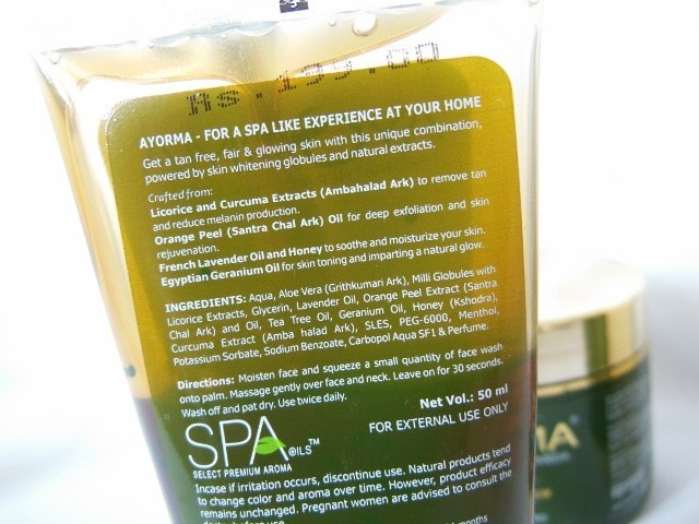 Ayorma Spa Face Wash Ingredients