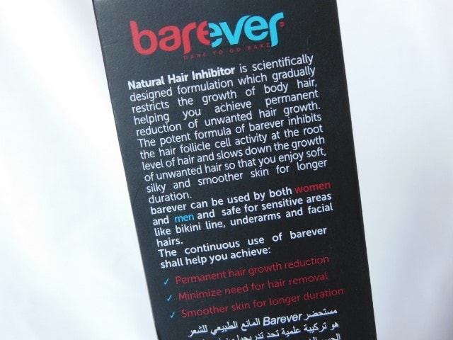 Barever Natural Hair Inhibitor Claims