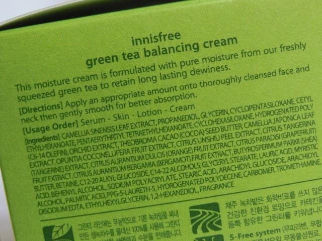Innisfree Green Tea Balancing Cream Ingredients