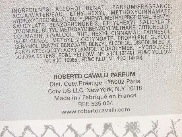 Robert Cavalli Paradiso EDP Ingredients