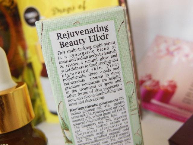 Just Herbs Rejuvenating Beauty Elixir Facial Serum Claims