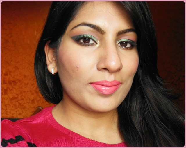 Metallic Green Eyes and Pink Lips Look