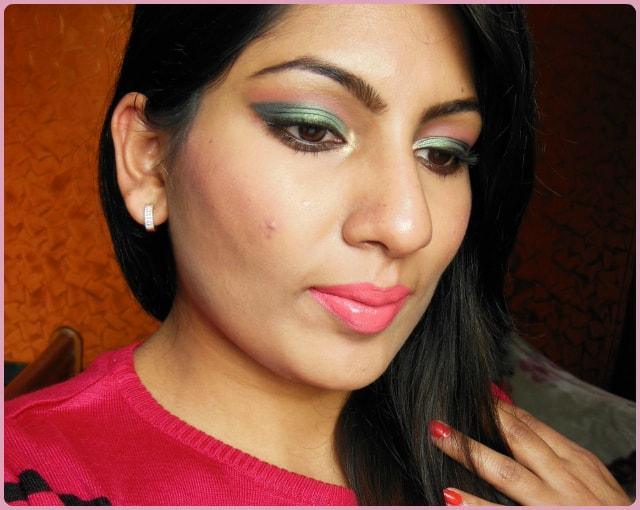 Metallic Green Eyes and Pink Lips Makeup