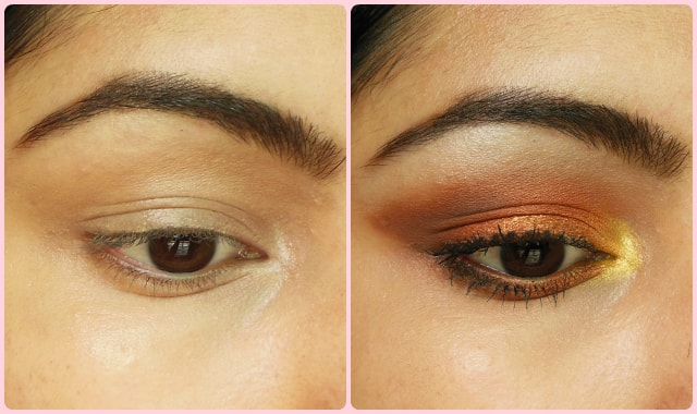 Warm Copper Smokey Eyes Before and After
