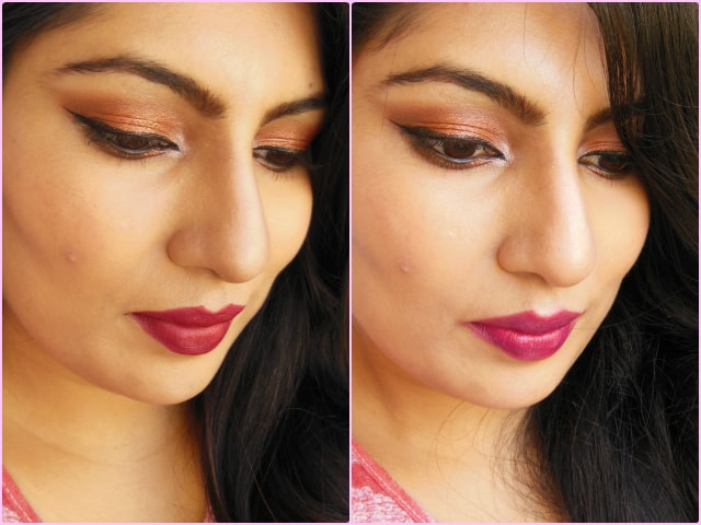 Metallic Copper eyes with Burgundy or Berry  Red Lips