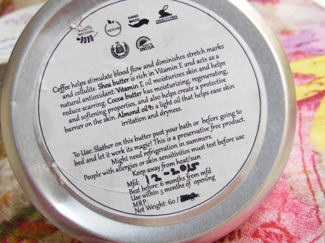 Burst Of Happiness Coffee Body Butter Claims