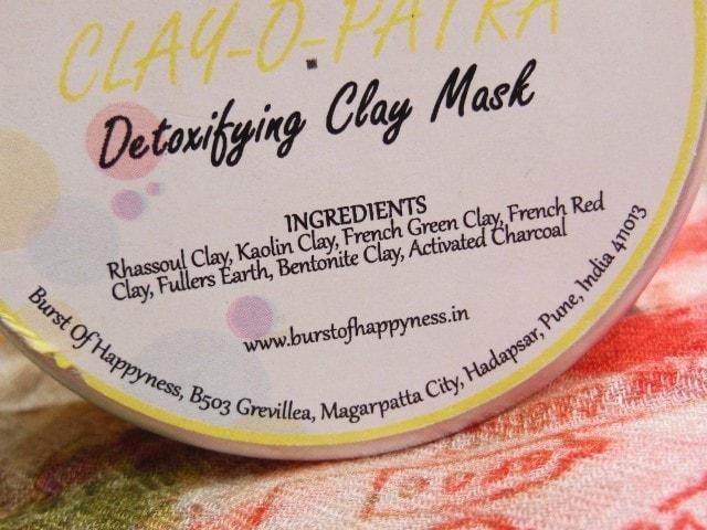 Burst Of Happiness Detoxifying Clay Mask Clay-O-Patra Ingredients