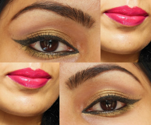 Golden Eyes and Pink Lips Makeup Look