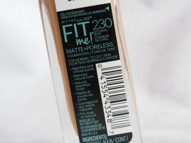 Maybelline Matte+Poreless Fit Me Foundation Claims