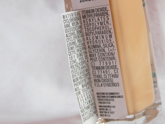 Maybelline Matte+Poreless Fit Me Foundation Ingredients
