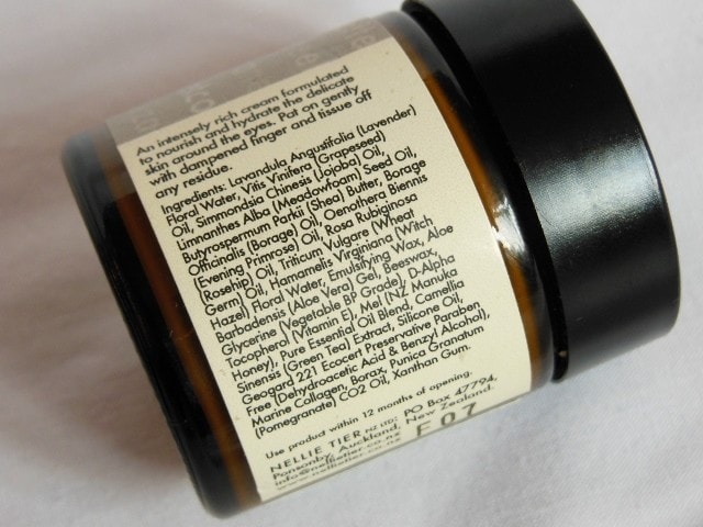 Nellie Tier Eye Cream Ingredients