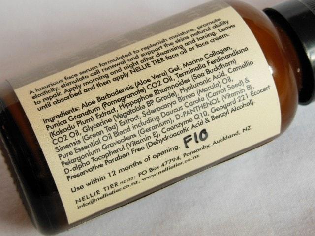 Nellie Tier Face Serum Ingredients